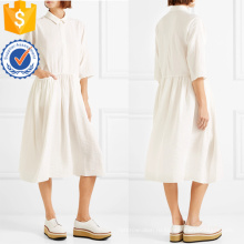Белый три четверти длины рукава Плиссированные хлопка Миди летнее платье Производство Оптовая продажа женской одежды (TA0322D)