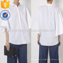 Chemise en popeline de coton surdimensionnée à manches courtes blanche Fabrication de vêtements en gros pour femmes (TA4059B)