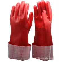 NMSAFETY red PVC Fully Coated Interlock cotton Lining glove