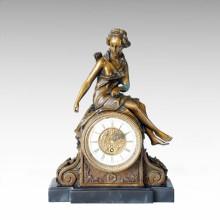 Clock Statue Diana Sitting Bell Bronze Sculpture Tpc-032