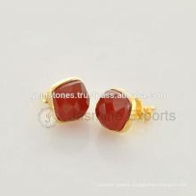 Wholesale Vermeil Gold Red Onyx Gemstone Bezel Stud Earrings Handmade Manufacturer Natural Gemstone Jewelry