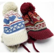 Beliebte gute Qualität Winter stricken Mütze mit Ohr-Klappen