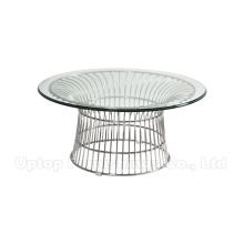 Round Tempered Glass Top Wire Platner Coffee Table (SP-GT407)