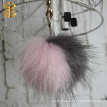 2015 Neueste Design Tasche Pelz Charm Bi-Color Waschbär Pelz Pom Poms Tasche Making Zubehör