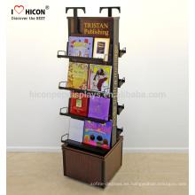 Agregue su cultura de la marca e impresione a los lectores en la tienda Suelo de madera de 4 niveles Folleto giratorio Libro de exhibición