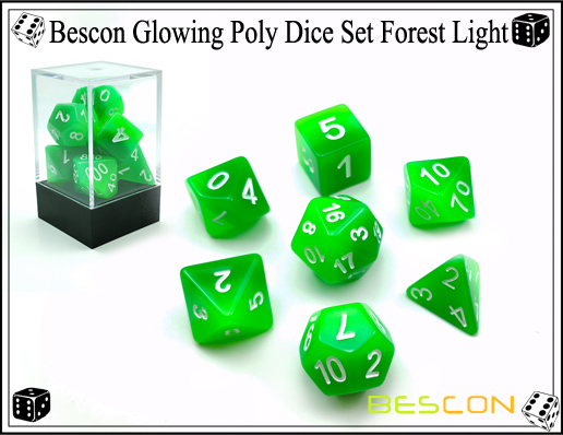 Bescon Glowing Poly Dice Set Forest Light-3