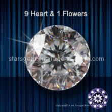 9 corazones y 1 estrella de flor de corte de zirconia cúbico