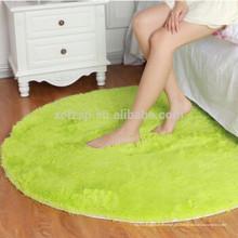 alfombra redonda de alfombra de pelo largo de microfibra verde dormitorio