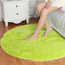 round green bedroom microfiber long hair carpet rug