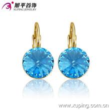 Moda elegante 14k banhado a ouro rodada cristal zircão jóias brinco clipe-29946