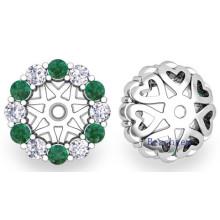Moda prata esterlina 925 brincos de esmeralda sintética