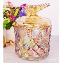 24oz Decorative Glass Jars with Glass Lid, Candy Jar