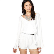 White Chiffon Long Sleeve Sexy Jumpsuit for Women and Ladies OEM