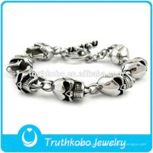 Bracelet en motard TKB-B0154 en acier inoxydable crâne hommes bijoux personnalisables