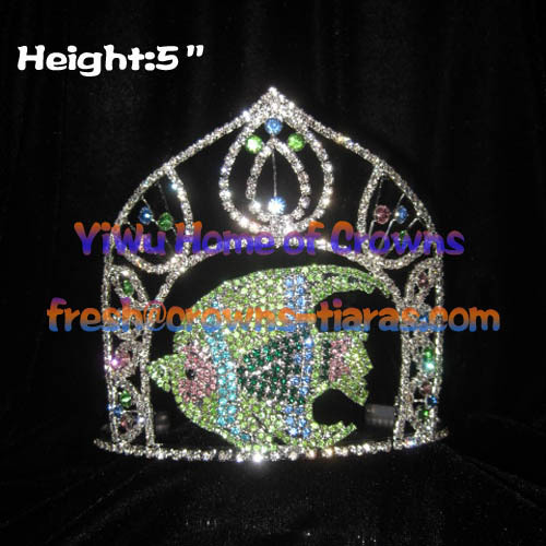 5-Zoll-Fish Crystal Strass Pageant Kronen