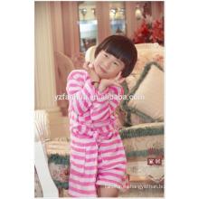 Kimono cuello rosa raya impresa niñas niños niños polar cálido suave bata de baño