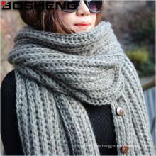 Acrylic de las mujeres hecha punto bufanda grande caliente de la manera