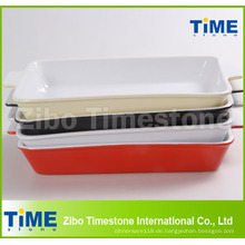 Rechteckige Farbe Glasierte Keramik Backformen (TM-1123)