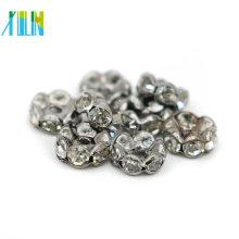 Wholesale IA0204 Large Hole Nickel Black Plating Metal Tone Crystal Rhinestone Rondelle Spacer Beads