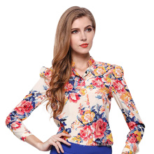 Hot selling ladies chiffon blouses sexy and elegant design multicolor printing long sleeve t shirt