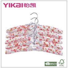 Conjunto barato de 5pcs algodão acolchoado cabide de roupas com pintura rosa