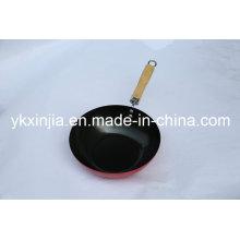 Utensílios de cozinha aço carbono wok chinês com madeira alça
