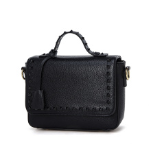 Womens PU Leather Perforated Rivet Pattern Silver Shine Shoulder Handbag (ZX10088)