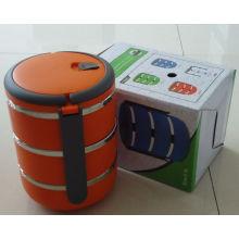 3 Schichten Kunststoff Lunchbox mit Griff / Lebensmittelbehälter