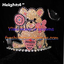 Lovely Teddy Bear Lollipop Crystal Crowns