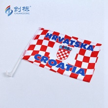 Polyester Croatia Car Flag with Plastic Poles