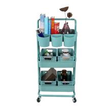 Blue Color Spa Facial Salon Trolley Kitchen Storage Rack Rolling Cart Utility Organizer Salon Furniture Plastic Living Room Mall