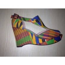 2016 africano impreso tela peep toe sandalia zapatos (HCY02-1358)