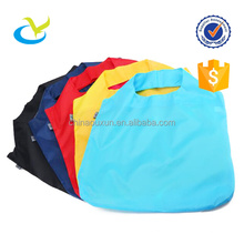 Custom logo foldable nylon grocery shop bag with pouch