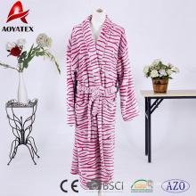 Colorful stripe print pattern flannel bathrobe for women