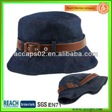 Blue Jean Bucket Hat With Leather Strap For Lady BBH1264
