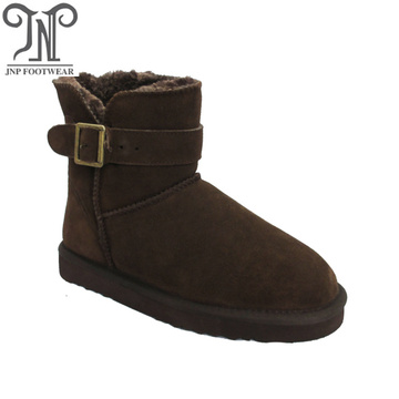 Women brown suede furry snow classic ankle boots