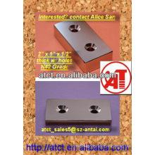Permenent Neodym Quadermagnet mit Senkloch 50.8x25.4x12.7mm N42 akzeptieren Schraube #8