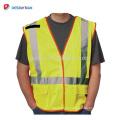 ANSI Clase 2 Hi Vis X-Back Breakaway Mesh Roadway Chaleco de trabajo de construcción con cintas reflectantes de plata y muchos bolsillos