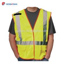 Cheap Fluo amarillo 100% poliéster malla Hi Vis Workwear chalecos reflectantes del chaleco con cremallera y cintas reflectantes EN471 clase 2