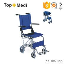 Cadeira de rodas portátil leve de transporte de avião Topmedi Alumínio