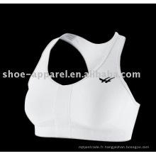 2014 soutien-gorge de sport de couleur blanche personnalisée, soutien-gorge de course en gros
