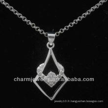 Joli pendentif en argent avec cristal CZ transparent PSS-020
