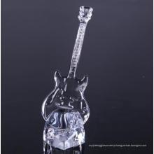 Mão pressionada vidro guitarra em forma de produtos vidreiros decorativos