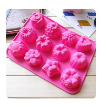 12 hốc Cupcake Silicone Jelly Tray Soap Khuôn