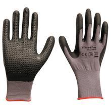 Anti Slip With Dots 15G Nylon Super Flext Spandex Nitrile Foam Dip Work Gloves