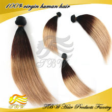 #1b/#4/#27 three tone color 2014 new design product wholesale brazilian hair, ideal hair product