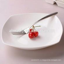Керамическая белая квадратная тарелка для гостиницы