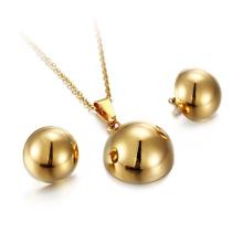 Nouvelle conception en acier inoxydable or boule Boucle d'oreille collier bijoux ensemble