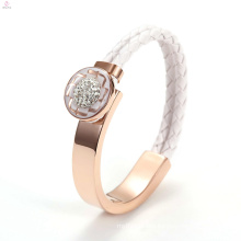 Women IP Rose Gold Wide Stainless Steel Crystal Weave Leather Bangle Bracelet