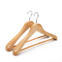 High quality hotel wide shoulder wooden coat hangers with bar wholesale